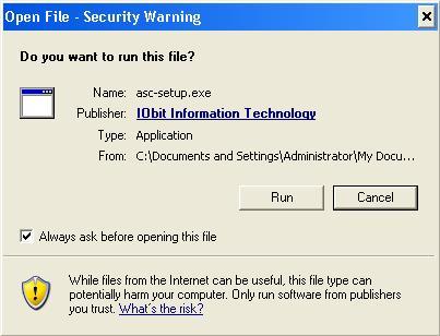 Open File – Security Warning dialog box in Windows XP